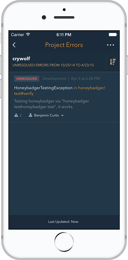 Honeybadger for iOS and Android